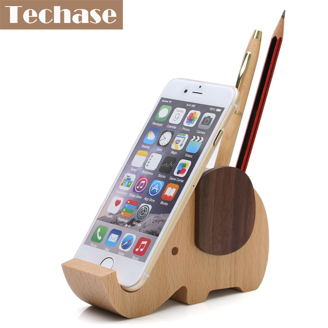 Techase Wooden Phone Holder Cartoon Elephant Design Base