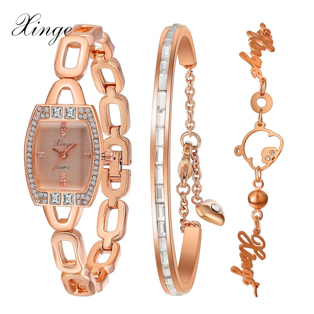 Xinge Brand Watch Women Bracelet Rhinestone Chain Bangles Jewelry Watch Set Wristwatch Waterproof Ladies Gold Quartz Watch xinge brand watch women bracelet rhinestone chain bangles jewelry watch set wristwatch waterproof ladies gold quartz watch