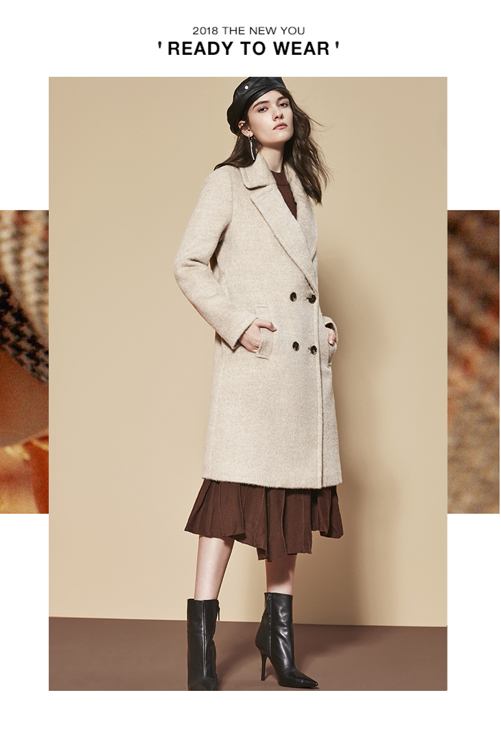 ONLY womens' winter new wool long thick woolen coat Fixed waist belt Double breasted Double breasted design|11834S543 7