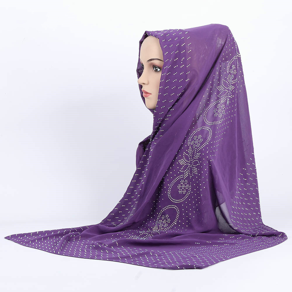 Muslim Lady Plain Pure Color Bubble Chiffon Hijab luxury scarf Long Big Shawl Head Cover Wraps Fashion All Match Hijabs Scarves