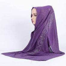 Moslim Dame Gewoon Pure Kleur Bubble Chiffon Hijab luxe sjaal Lange Grote Sjaal Head Cover Wraps Mode Alle Match Hijaabs sjaals(China)