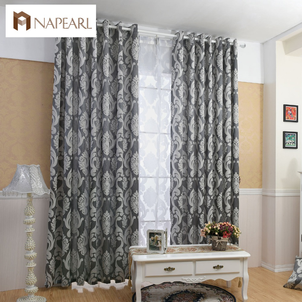 NAPEARL Curtain Window Living Room Jacquard Fabrics Luxury Semi-blackout Curtains Panel Living Room Curtains Short Black Curtain(China)