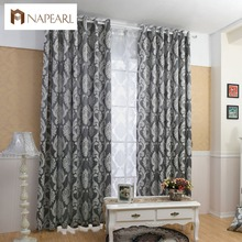 NAPEARL Curtain window living room jacquard fabrics luxury semi-blackout curtains panel living room curtains short black curtain cheap Cafe Hotel Office Home Flat Window General Pleat Rope Woven Exterior Installation Floral Translucidus (Shading Rate 1 -40 )