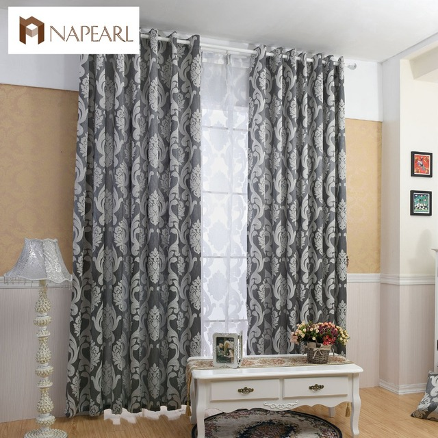 living room fabrics colonial napearl curtain window jacquard luxury semi blackout curtains panel short black
