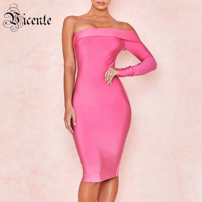 Vicente HOT 2019 New Chic Elegant Hot Pink One Shoulder Knee Length Celebrity Wholesale Women Bandage