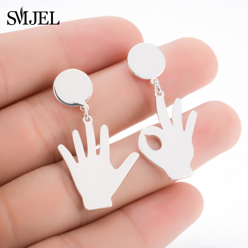 SMJEL Personalized Palm Hand Shaped Stud Earrings Girls Tiny Gold Ok Hand Finger Earrings For Women Bijoux boucle doreille