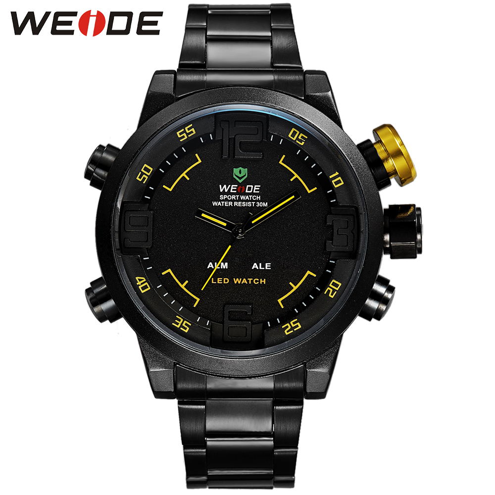 WEIDE Famous Luxury Brand Watch Men Logo Quartz LED Dual Movement Full Stainless Steel Band Sport Style Digital Running Watches цена и фото