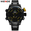 WEIDE Famous Luxury Brand Watch Men Logo Quartz LED Dual Movement Full Stainless Steel Band Sport Style Digital Running Watches