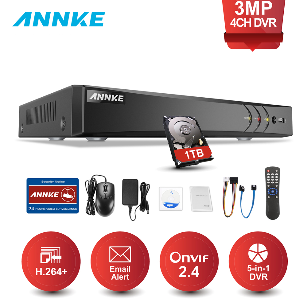 ANNKE 4CH 3MP 5in1 HD TVI CVI AHD IP Security DVR Recorder H.264+ Digital Video Recorder With Smart Motion Detection Playback annke 3mp 4ch hd tvi cvi ahd ip 5in1 dvr vca 2mp hd smart ir day night vision bullet cctv camera video security system 3d dnr