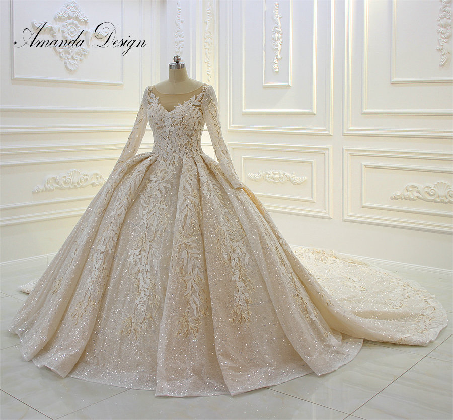 Us 12500 Amanda Design Long Sleeve Lace Applique Beading Patterns Puffy Ball Gown Shiny Wedding Dress In Wedding Dresses From Weddings Events On
