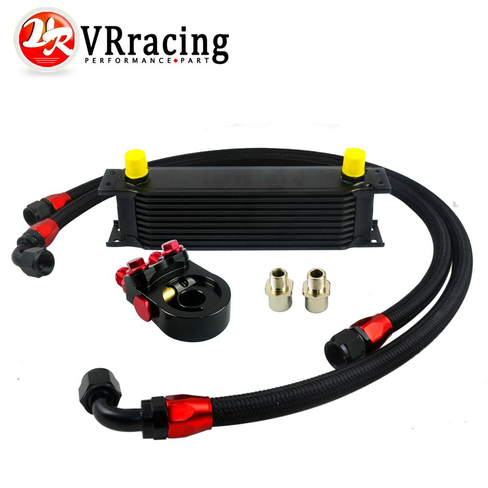 VR - Universal 10 ROWS OIL COOLER ENGINE + AN10 oil Sandwich Plate Adapte with Thermostat + 2PCS NYLON BRAIDED HOSE LINE BLACK