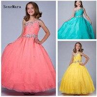 Новые Индивидуальные платье с цветочным узором для девочек для свадьбы Бисер Crytals девочек Выпускной платье для причастия рождественское пл