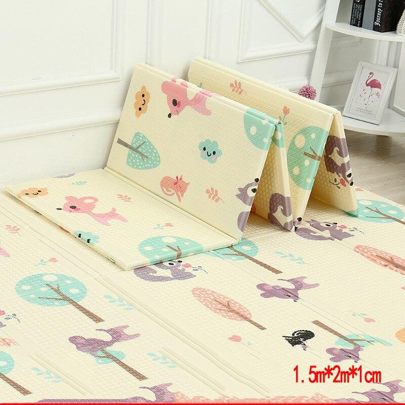 Tapis de jeu brillant pour bébé XPE Puzzle tapis pour enfants épaissi 1.5 m * 2 m * 1 cm tapis rampant pour chambre de bébé tapis pliant pour bébé