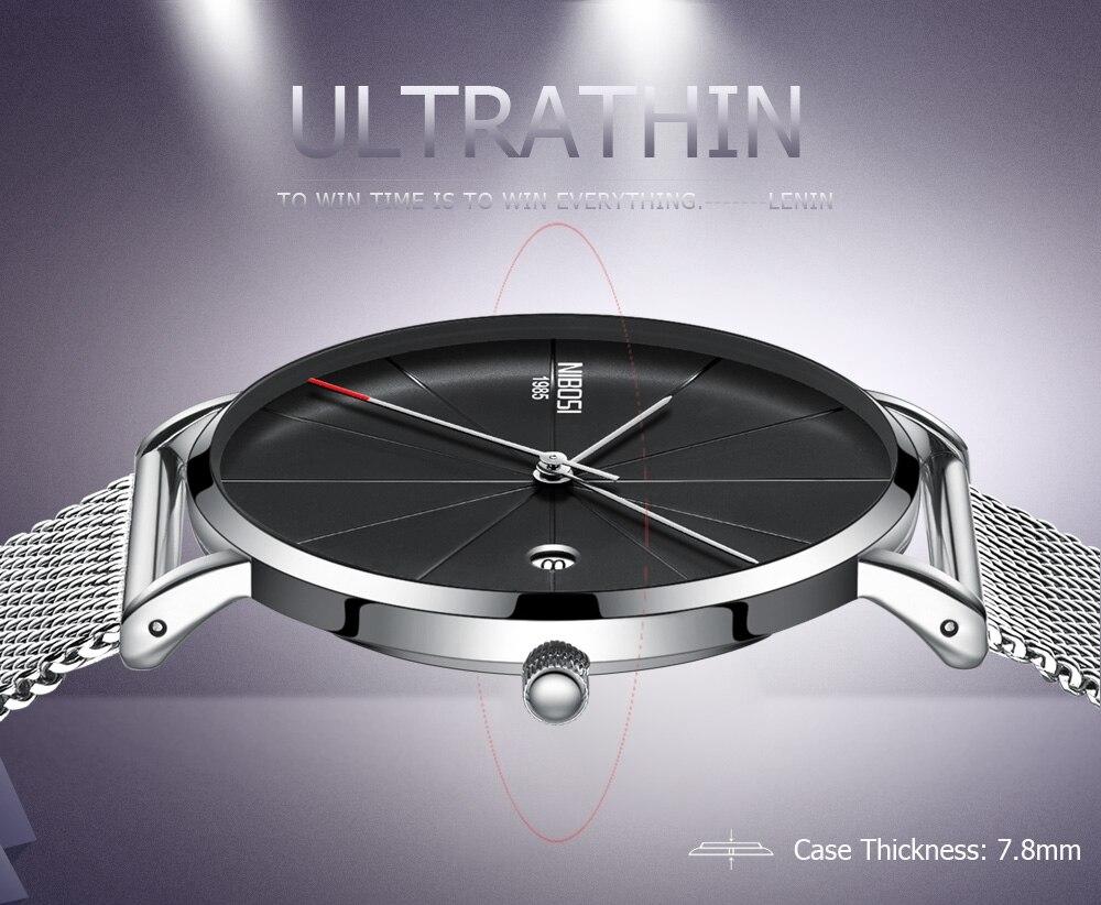 Image 4 - NIBOSI, простые мужские часы, Топ бренд, роскошные часы, кварцевые часы, мужские тонкие сетчатые стальные водонепроницаемые спортивные часы, Relogio Masculino Saat-in Кварцевые часы from Ручные часы on AliExpress