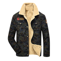 Camouflage Denim Jacket Men Winter Fur Fleece Men S Jeans Jacket Black Khaki Army Flight Military