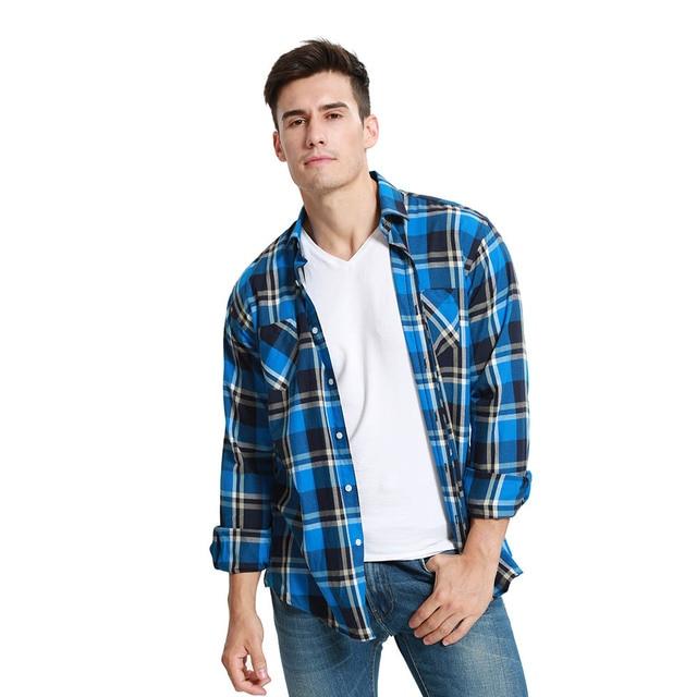 JeeToo Jesień Przyjazdowy Mężczyzn Kratę Koszula Flanelowa Z