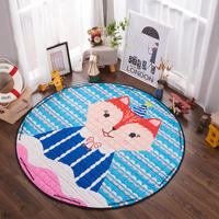 Kids Cartoon Carpet Rugs Children Play Mat Crawling Puzzle Mat with Storage Bag Kids Toys Sundries Pouch 150cm Round Area Rugs