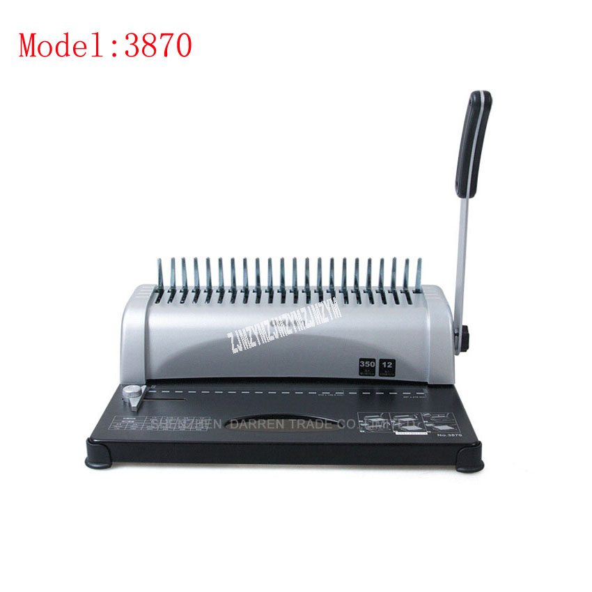 1PC 3870 Practical 21 holes A4 Manual Comb Book Binding Machine,can punch 12sheets at a time a4 size comb type binding machine mars 230 manual rubber ring clamp dual use machine 21 hole file punch binding machine 1pc