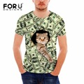 FORUDESIGNS T-shirt Men Tops Short Sleeve Lots of Money Dollars 3D Cat T Shirt Funny Tops Tee Teen Summer Male tShirts Plus Size
