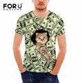 Forudesigns t-shirt dos homens tops manga curta lotes de dólares do dinheiro 3d cat t shirt engraçado tops tee adolescente do sexo masculino de verão tshirts plus tamanho