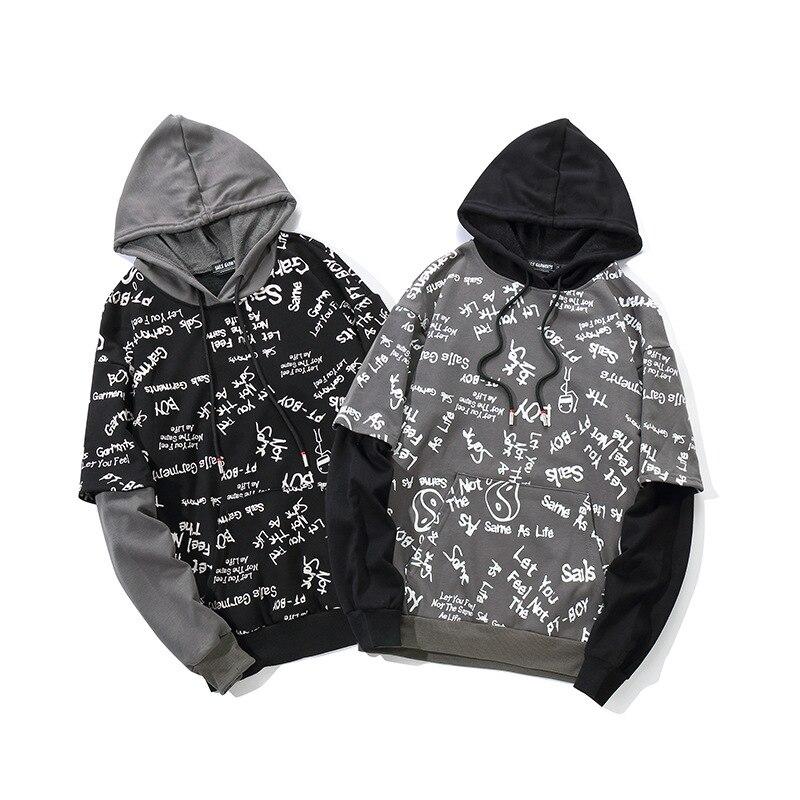 2019 automne Hip Hop Graffiti sweat à capuche Streetwear hommes noir à capuche pull coton Skateboard Harajuku à capuche Streetwear