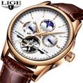 LIGE Модные Бизнес Мужские автоматические часы кожа водостойкий мужские механические часы Tourbillon спортивные часы Relogio Masculino