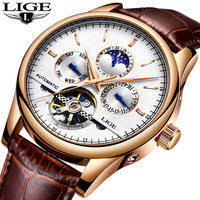LIGE Fashion Business Mens Automatic Watch Leather Waterproof Mechanical Watch Mens Tourbillon Sport Watches Relogio Masculino