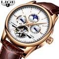 LUIK Fashion Business Mens Automatische Horloge Lederen Waterdichte Mechanische Horloge Heren Tourbillon Sport Horloges Relogio Masculino