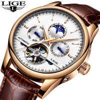 Reloj Automático de cuero para hombre de negocios a la moda LIGE reloj mecánico a prueba de agua relojes deportivos Tourbillon para hombre