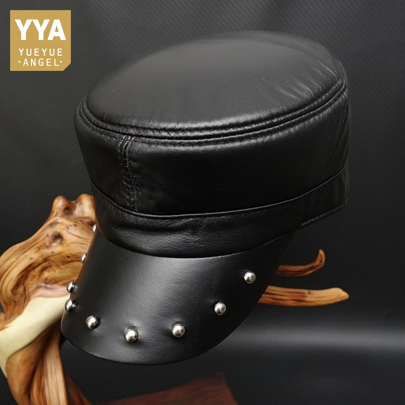 Beanies Genuine-Leather Baseball-Hat Military-Hat Flat-Cap Unisex Fashion Women Mens