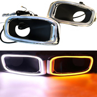12V Led Daytime Running lights for Jeep Renegade 2015 2016 DRL Fog lamp cover with yellow turn signal lamp