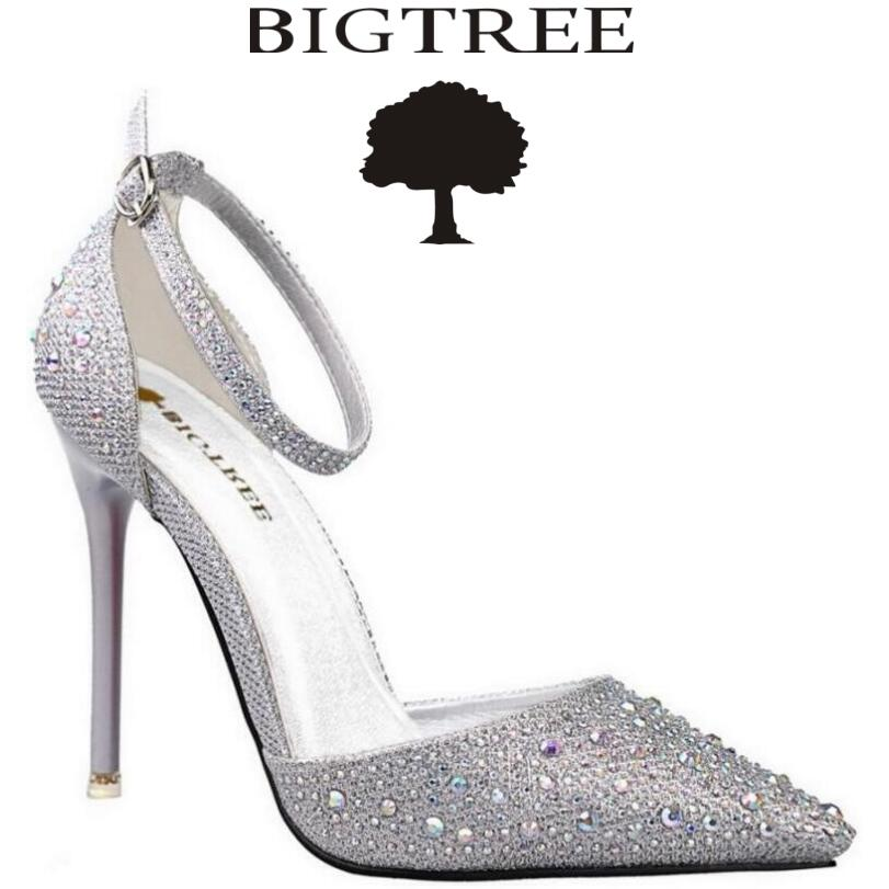 BIGTREE Brand Shoes Gold A word Belt Women's High Heels Women Pumps Stiletto Thin Heel Pointed Toe High Heel Party Shoes Woman new fashion champagne thin heel stiletto woman shoes sexy point toe high heels party shoes brand high quality gold silver pumps