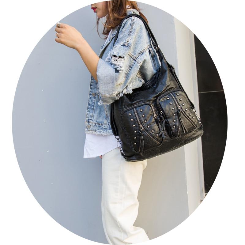ad4d8e5a39c8 Купить Женская Большая объемная черная сумка на плечо модный рюкзак  Повседневная сумка тоут элегантная женская сумка через плечо LongLight  Продажа Дешево