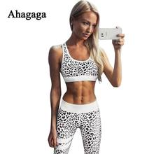 Ahagaga 2017 Summer Autumn Fitness Tracksuits Suits Women Sets Costume 2-pieces (Sexy Short Tops+Leggings) Regular Women Suits