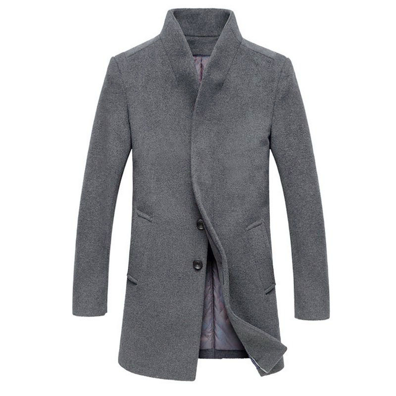 Hombres chaquetas abrigos Trench de lana abrigos moda chaqueta Windbreaker invierno cálido abrigo hombres ropa Hombre