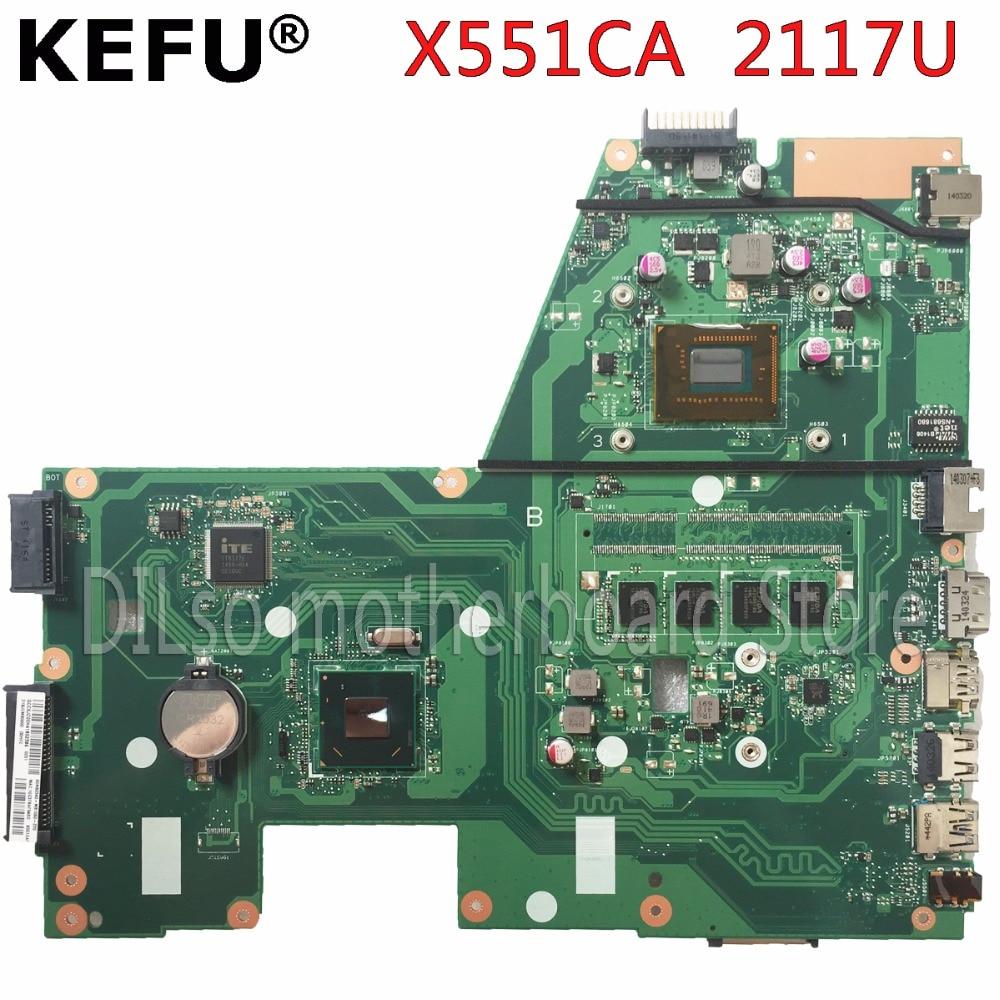 original KEFU X551CAP motherboard For ASUS X551CA F551CA Laptop motherboard F551CA mainboard REV2.2 2117U 4GB tested 100% work sheli original x551ca motherboard for asus x551ca f551c f551ca laptop motherboard tested mainboard 1007u rev2 2 notebook
