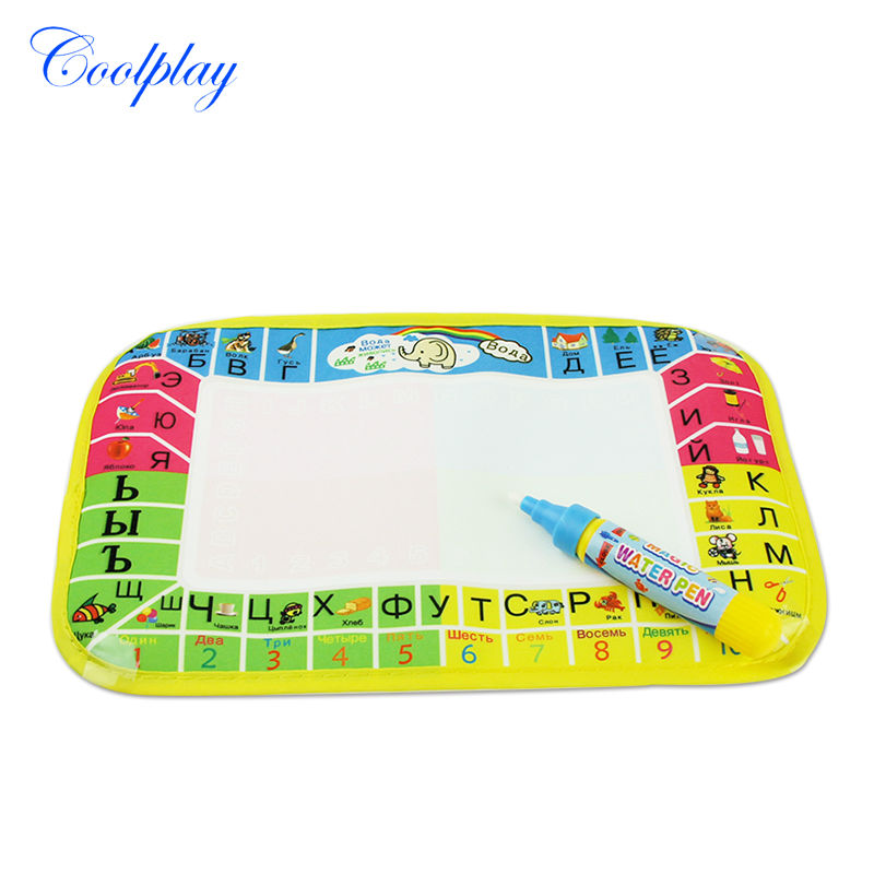 25*16CM Mini Russian Letter Water Drawing Mat & Magic Pen Water Coloring Mat Reusable Educational Painting Board  For Kids (