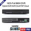 New 16ch 960 H Completo D1 CCTV Gravador DVR Em Tempo Real HDMI segurança DVR NVR Híbrido 3 Em Um Suporte Ver Telefone Móvel Onvif