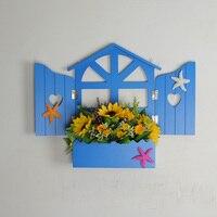 2019 European style nordic shelf creative wood shelf window mural decorative wall shelf farmhouse decor
