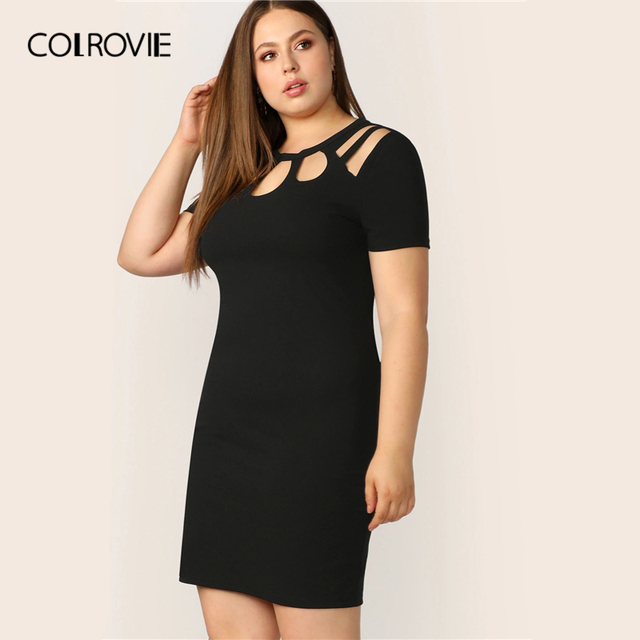 COLROVIE Plus Size Black Solid Cut Out Bodycon Elegant Dress Women 2019 Summer Short Sleeve Pencil Mini Office Ladies Dresses 2