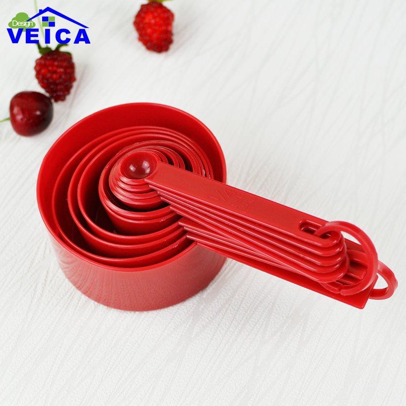 Red Plastic Measuring Cups 10pcs/lot Measuring Spoon Kitchen Tools Measuring Set Tools For Baking Coffee Tea