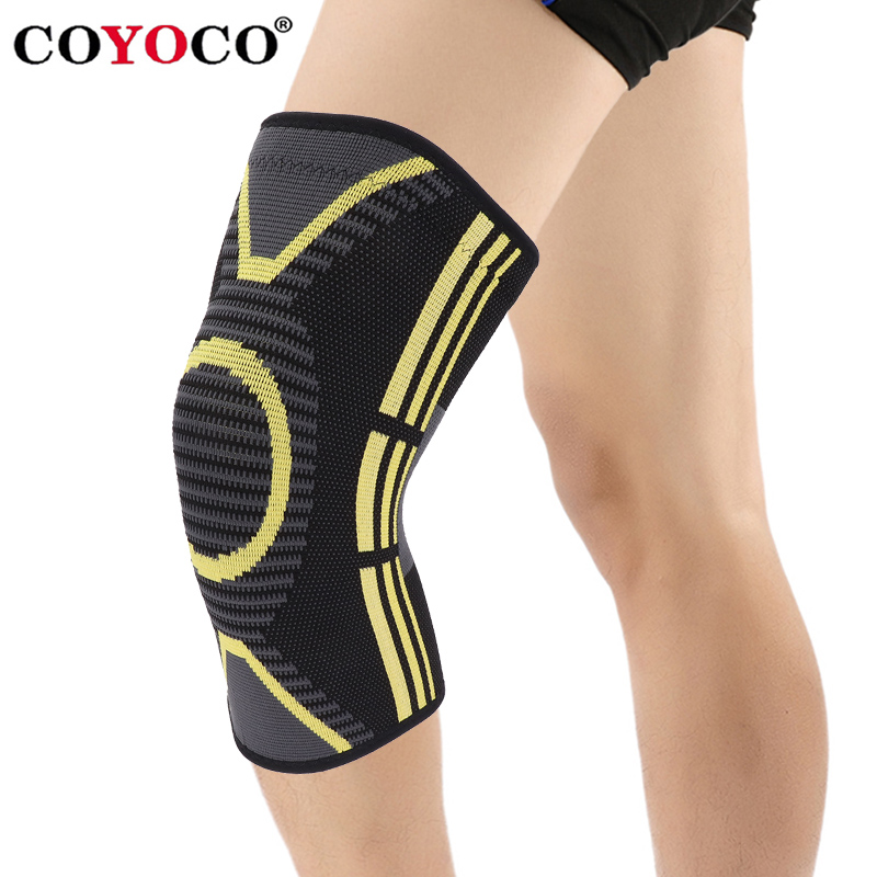 COYOCO Sport Knee Support Warm 1 Pcs Yellow Pattern Kneepad Knee Brace Protector for Joint Pain Relief and Injury Recovery Black 1pair health care knee brace support therapy compression sleeves for arthritis meniscus tear acl pain relief injury recovery