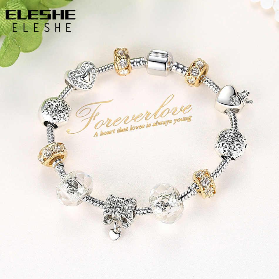 ELESHE прозрачная Золотая цепь с кристаллом женские браслеты и браслеты тибетские серебряные бусины женский браслет с шармами Мода DIY ювелирные изделия
