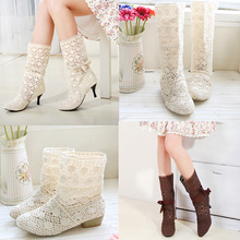 shoes women Cool boots female 2016 cutout summer women's shoes medium-leg boots net boots single sandals boots lace