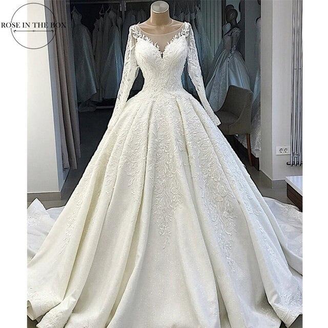 Vestido De Novia สีขาวลูกไม้ Appliques ชุดแต่งงาน 2019 ภาพลวงตากลับแขนยาวชุดแต่งงานพลัสขนาด Gelinlik