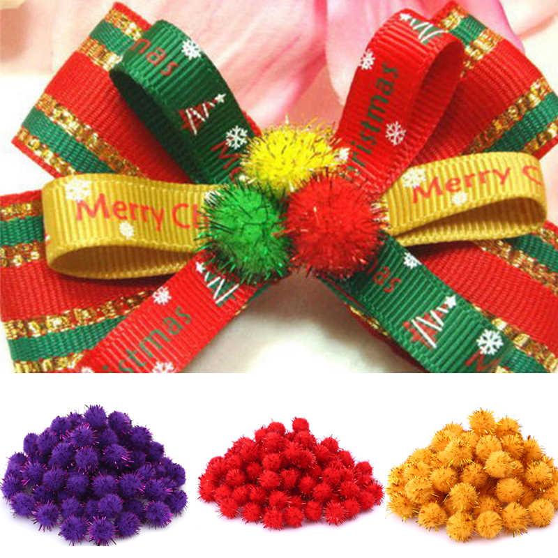 15mm 100 pces casamento/ano novo/natal multi-cor de pelúcia diy bordado pompon bola artesanato festa guirlanda artesanato acessórios
