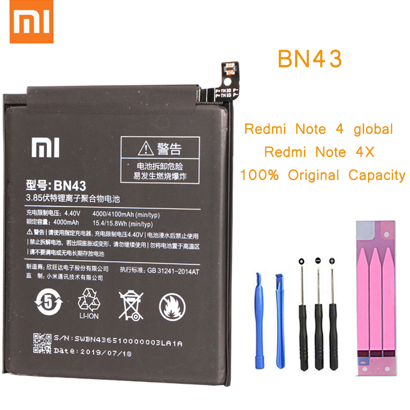 Original Phone Battery for <font><b>Redmi</b></font> <font><b>Note</b></font> <font><b>4X</b></font> 3G+32GB Battery <font><b>Xiaomi</b></font> hongmi <font><b>Note</b></font> 4 Global <font><b>BN43</b></font> Replacement Batteries Red rice bateria image