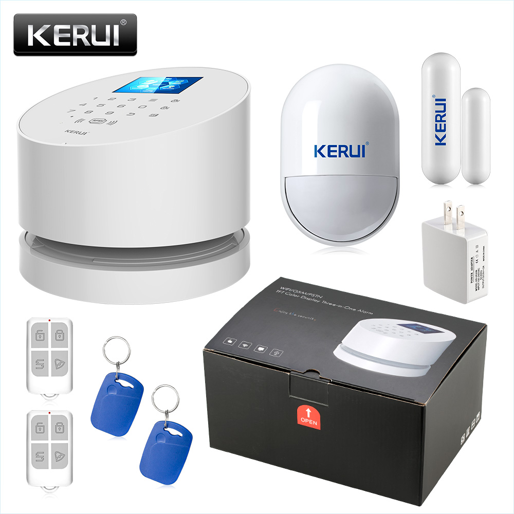 KERUI W2 WIFI GSM PSTN Security Alarm System SMS RFID Disalarm Low battery Indication APP Control Burglar Alarm System casio mtp 1292d 1a