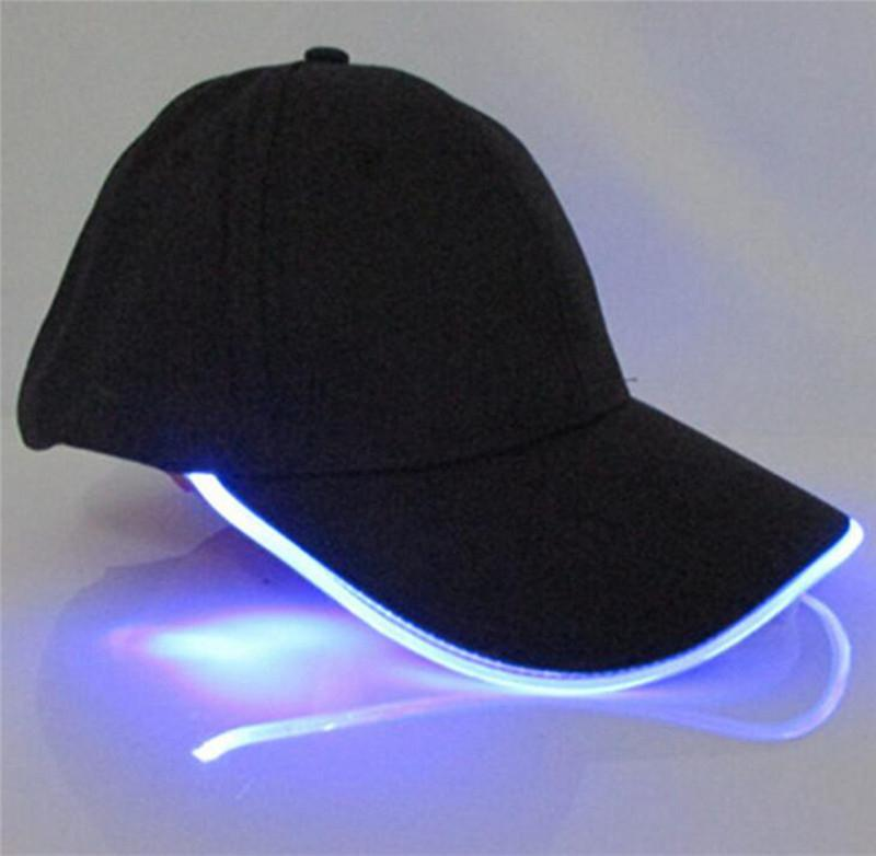 Cooperative Led Light Sun Hats Glow Club Party Sports Athletic Black Fabric Travel Hat Caps Colorful Lights One Size Solid Cap Yi0