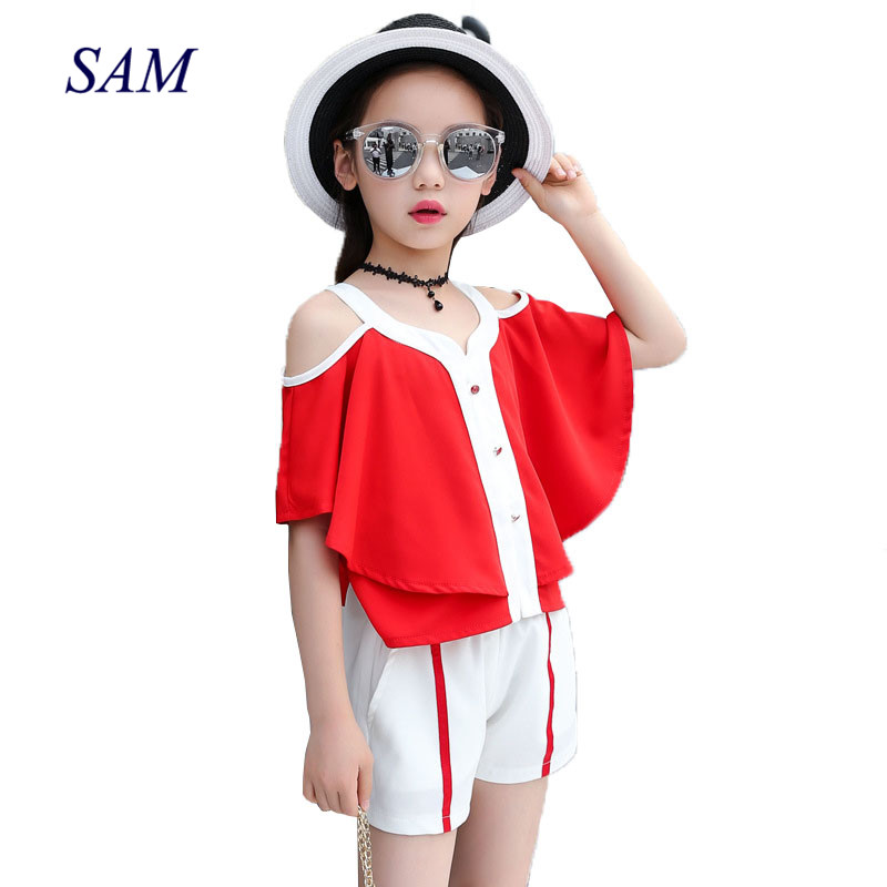Childrens 2018 summer fashion clothing sets big gilrs shawl strapless bat sleeve tops +  ...
